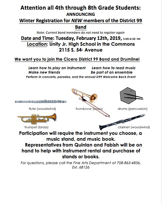 RESCHEDULED: Mid-year registration for District 99 band