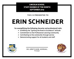 Lincoln's Staff Member of the Month - September