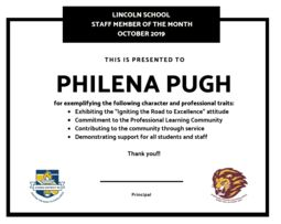 Lincoln's Staff Member of the Month - October