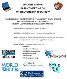 Parent Meeting at Lincoln School: Online Resources for Students