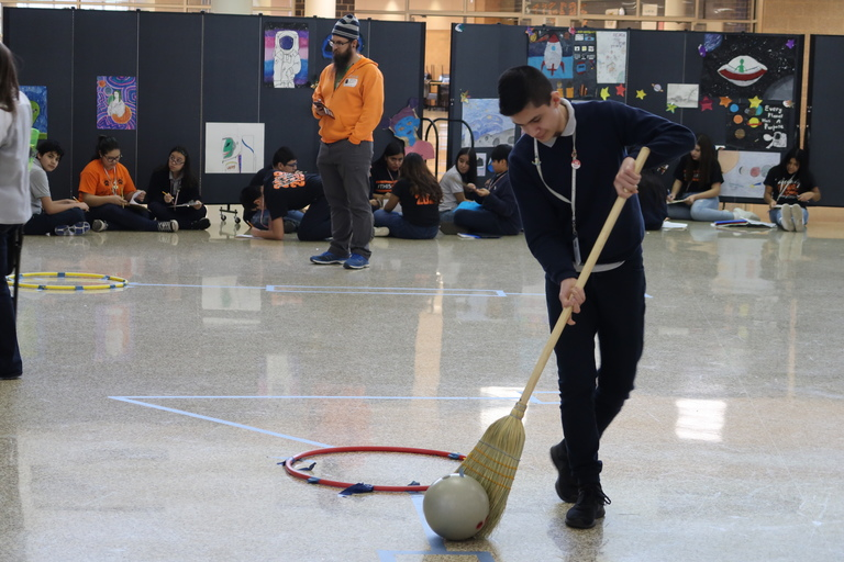 Sweeping through science: Unity students practice lessons with broomball