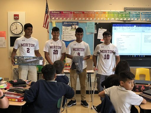 Superintendent Hernandez and Morton Soccer Team Surprise Wilson Student