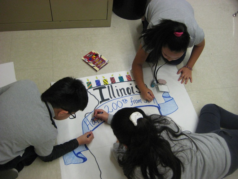 Cicero students celebrate Illinois' 200th birthday