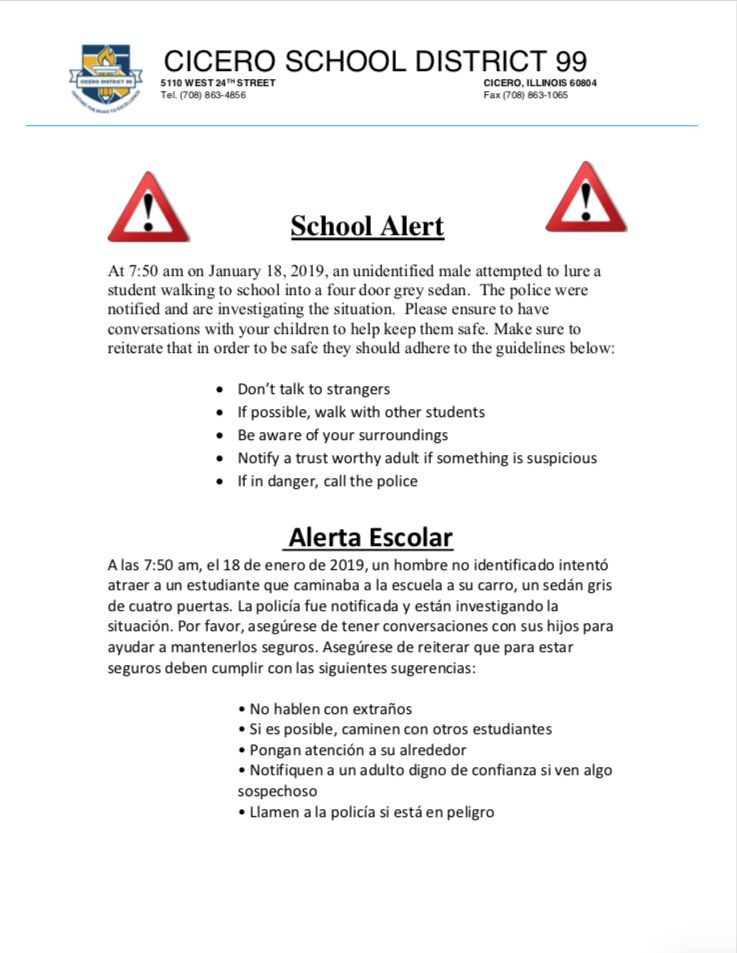 District school alert on student safety